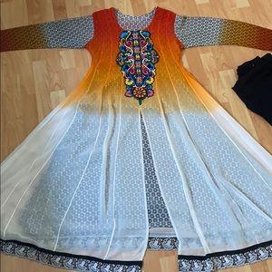 Ombré orange and white Pakistani Indian dress